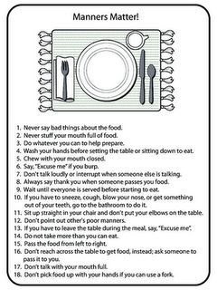 """Drives me crazy when parents don't teach children proper table manners.""---Yes, indeed; plenty of adults could use this"