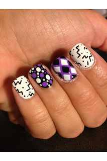 Purple, black and white nails from Young Wild and Polished