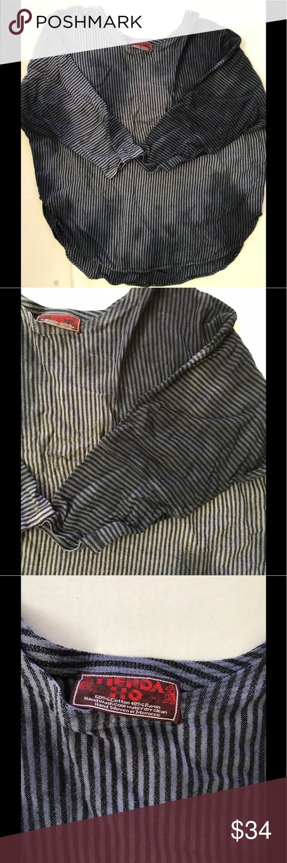 """TIENDA HO Blue Striped Hombre Bat Wing Shirt  M/L TIENDA HO Blue Striped Hombre Bat Wing Shirt Blouse Loose Fit M/L  Because of the style it was hard to measure  top to bottom 24"""" arm pit to arm pit 23 collar to end of sleeve 24  cotton/Rayon blend Tiendo Ho Tops Blouses"""