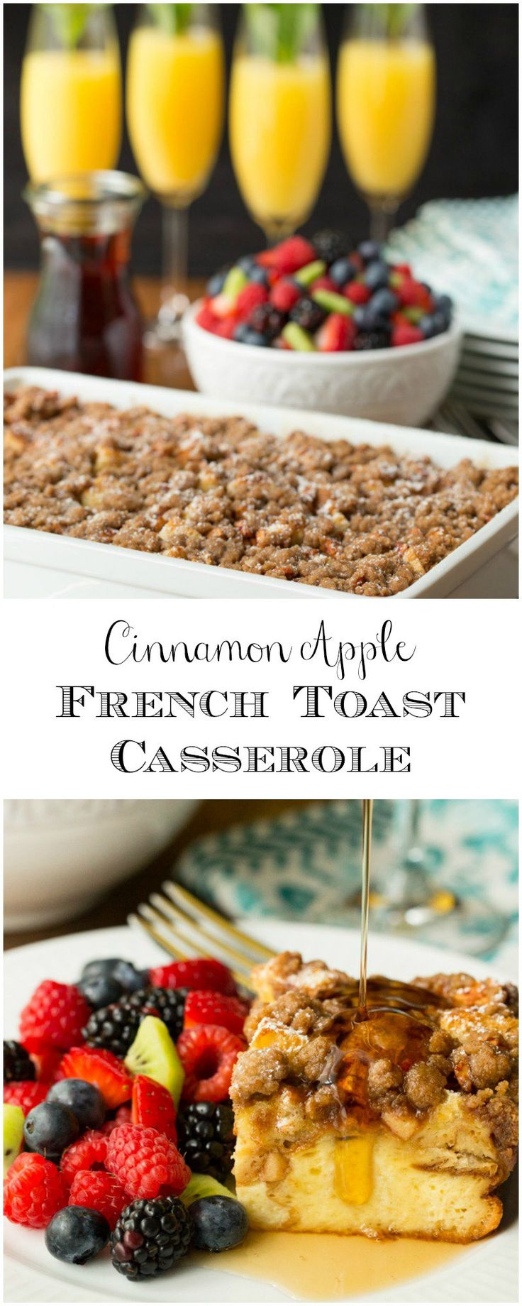 Cinnamon Apple French Toast Casserole - crazy delicious overnight casserole. Prep it at night and in the morning, breakfast is easy peasy! thecafesucrefarine.com