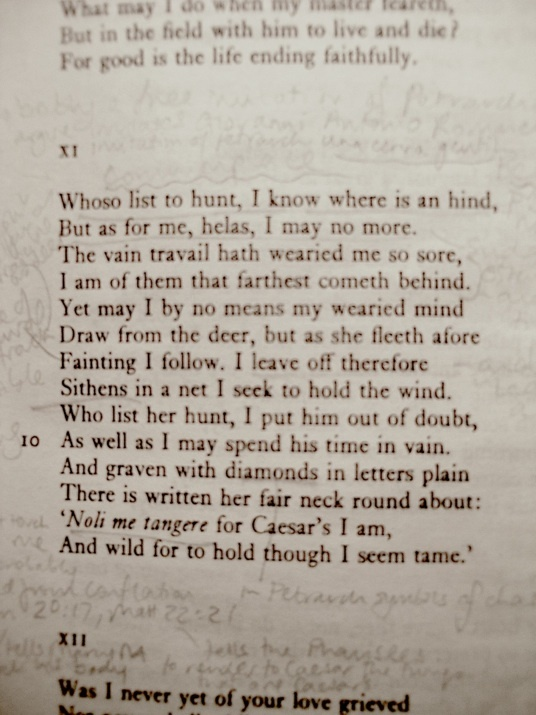 """""""Whoso List to Hunt"""", Sir Thomas Wyatt. Many scholars agree that the poem is referring to Anne Boleyn and her pursuer Henry VIII"""
