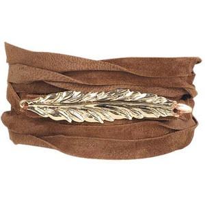 leather & gold leaf wrist band