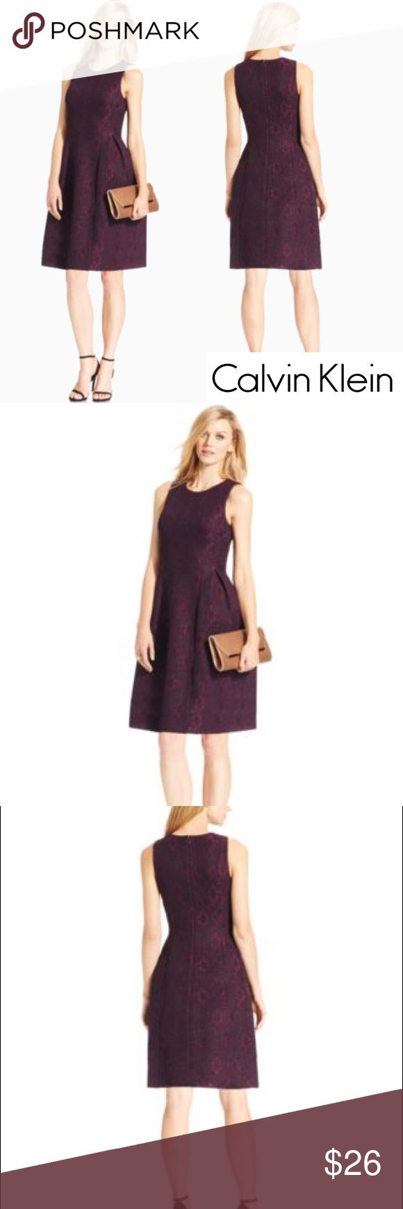 Calvin Klein Plum Lace Floral Dress Is in excellent condition and is a size 6 - the length is about 36 inches, there are no stains, rips, or tears and the zipper works great. There are one or two tiny strings. Shell: 70% polyester, 30% nylon  Lining: 100% polyester. Great for a date night, a special event, or a night out! Calvin Klein Dresses