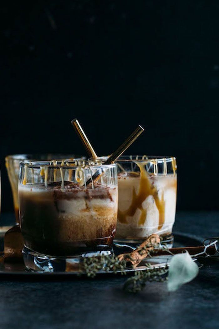 Salted Caramel White Russian   Jazz up a traditional White Russian by adding salted caramel sauce and cinnamon ice cubes!   thealmondeater.com