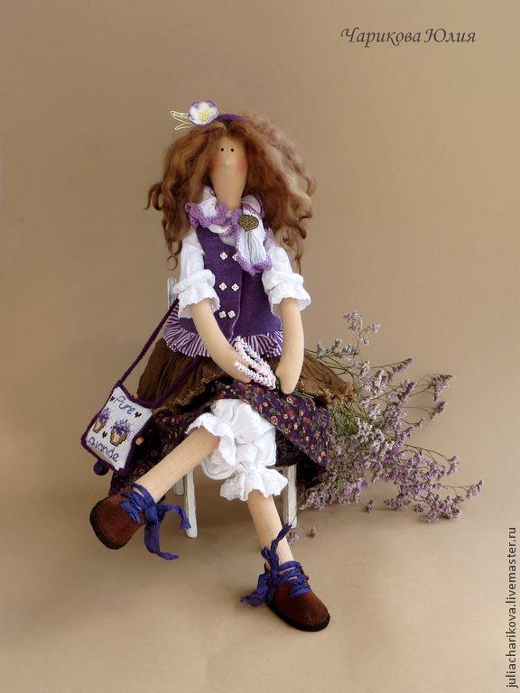 Купить Цветы Прованса 5 - фиолетовый, кукла ручной работы, тильда кукла, кукла в подарок