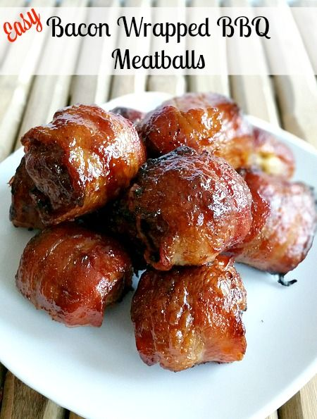 Bacon Wrapped BBQ Meatballs @ My Pinterventures ~ these look seriously good, and dangerous!!! LOL