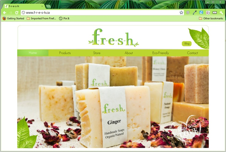 A beautiful eCommerce Wix website for F-r-e-s-h organic bath and body care products.