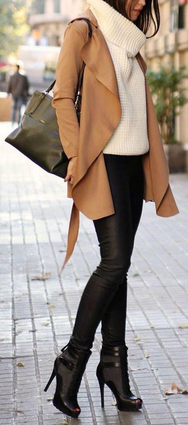 Black leather leggings   white knitted sweater   camel coat