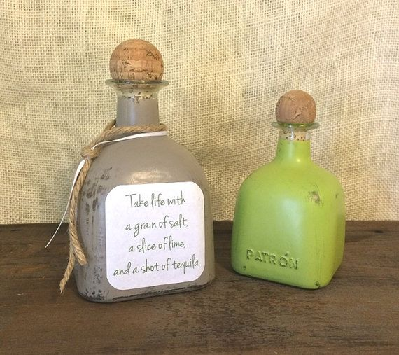 Painted Patron Liquor Bottles with Saying by KatiesSpecialTouch on Etsy