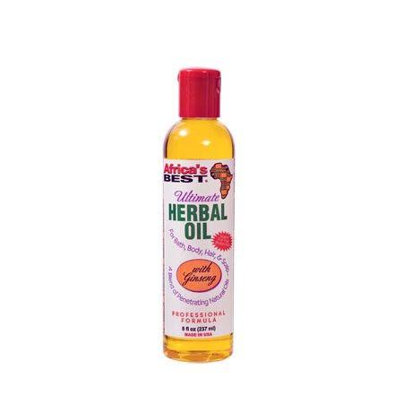 Ultimate Herbal Oil - Africa's Best. Revitalise les cheveux secs, assoiffés & la peau. Mélange d'huile naturelles nourrissantes. Avec du ginseng. Pour le bain, corps, cheveux, les cuticules, et le cuir chevelu. Cette huile multi-usages est un mélange d'huiles naturelles qui pénètrent en profondeur. Revitalise la peau sèche. Apaise les démangeaisons du cuir chevelu sec. Agréablement parfumée.