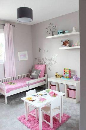 Chambre fillette rose et grise