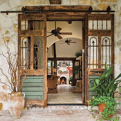 Rustic, mission-style entryway.  http://www.southernliving.com/home-garden/gardens/front-back-screen-porch-patio-00417000071944/page46.html