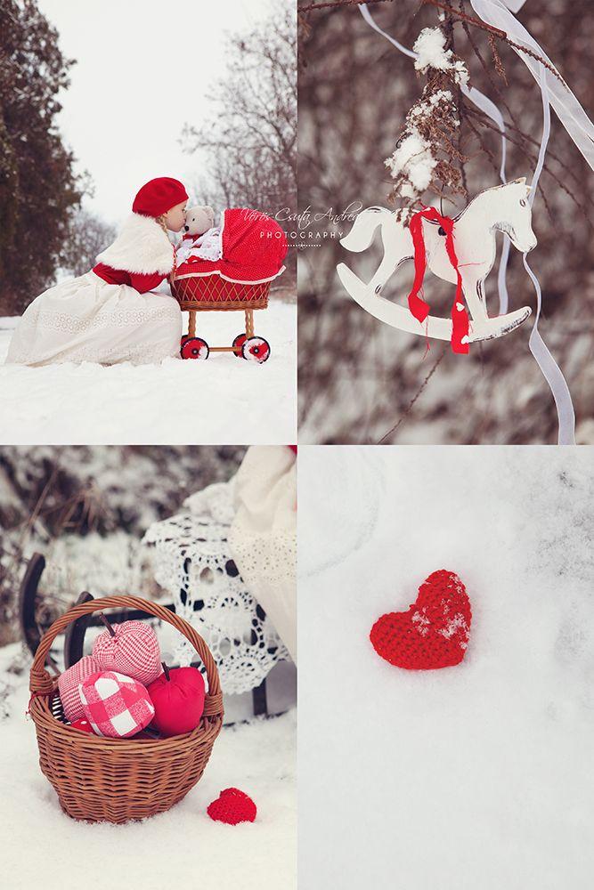 winter, snow, red, apple, horse, kids, csutafoto