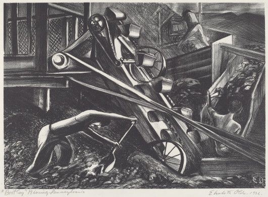 Elizabeth Olds (artist)  American, 1896 - 1991  Bootleg Mining, Pennsylvania, 1936 lithograph image: 250 x 353 mm sheet: 315 x 422 mm Reba and Dave Williams Collection, Gift of Reba and Dave Williams  2008.115.3787