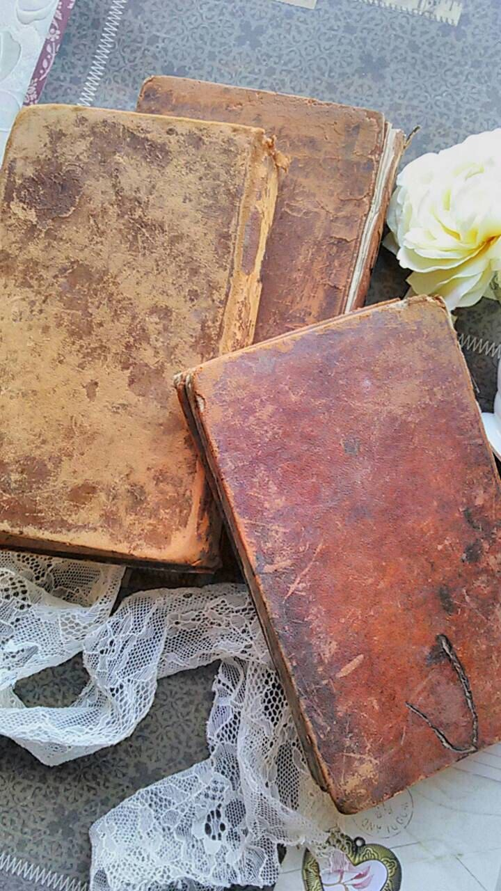 Antique Leather Bound Books. English Textbooks. Antique Grammar Books. Printed in the 1800's. Decorative, aged, rustic, cottage shabby books by TheLonelyBookJunkie on Etsy https://www.etsy.com/listing/263561357/antique-leather-bound-books-english