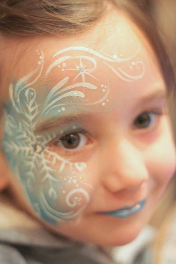 2014 Halloween Frozen face paint ideas - snowflake #Halloween