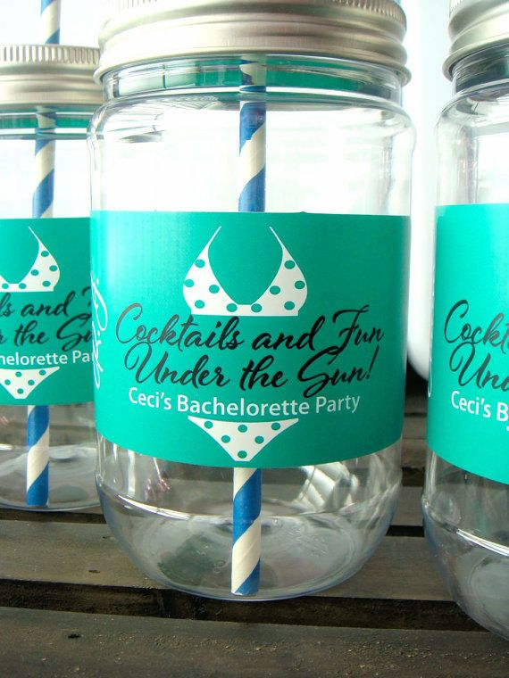 Cocktails And Fun Under The Sun Bachelorette Party Cups Uniquely Stylish Personalized Mason
