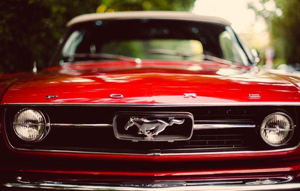 Обои картинки фото ford, mustang, red, classic, форд, мустанг, красный