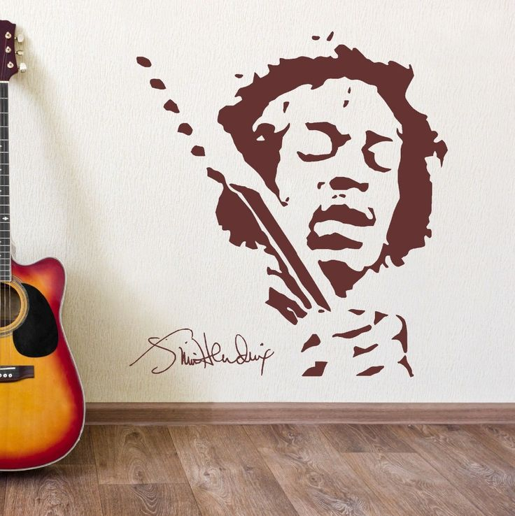 Classis JIMMY HENDRIX Music Wall Vinyl Sticker Black Brown Wall Stickers Home Decor Bedroom Wall Decals Adesivo De Parede J418 >>> Click image to read more details. #HomeDecor