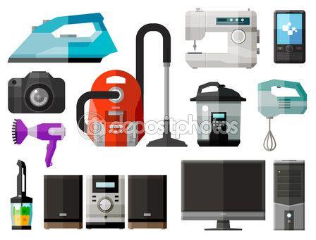 기기 아이콘입니다. 요소-철, 진공 청소기, 재봉틀, 휴대 전화, 사진 카메라, 건조 기, 믹서 기, 음악 센터, 컴퓨터, pc, tv, 믹서, 전자 레인지 — Stock Illustration #75848825