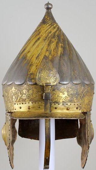 Ottoman chichak type helmet, 16th century,overall height 42.5 cm, weight 2266 g, Dresden State Art Collections.