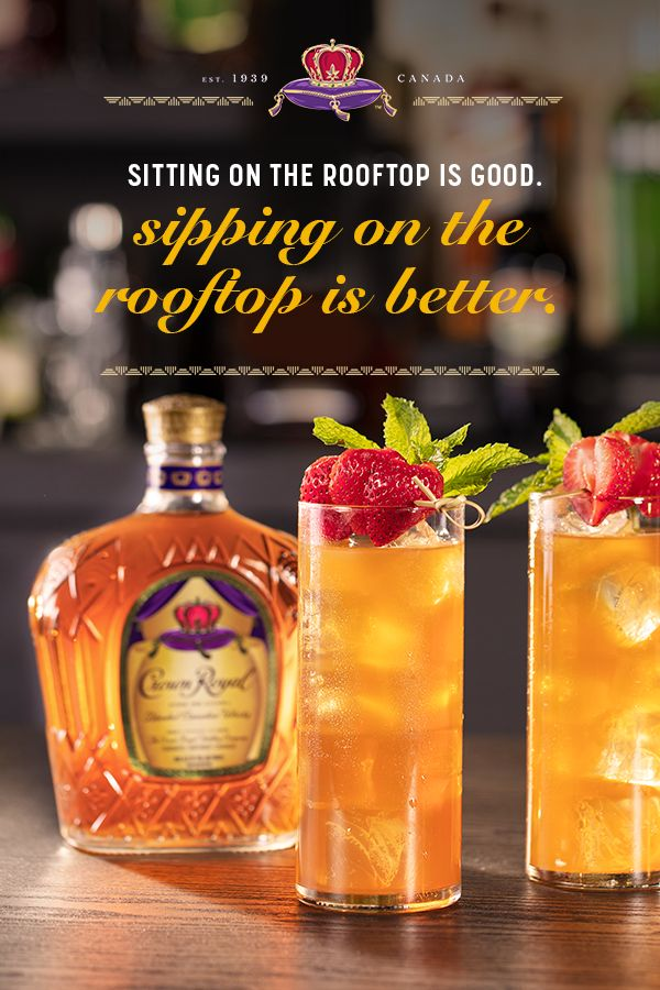 Strawberry Mint Iced Tea: Crown Royal Whisky Cocktails