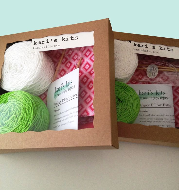 Beginner knitting kit - pillow knitting kit - Ready to ship - Free Shipping by thespinninghand on Etsy