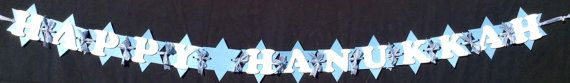 Happy Hanukkah Banner/Sign/Garland by FestivePaperieEtc on Etsy