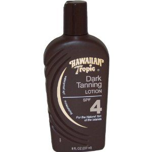 Hawaiian Tropic Dark Tanning Lotion with Sunscreen, SPF 4 8 fl oz (237 ml) by Hawaiian Tropic. Save 9 Off!. $8.22. Is waterproof. A touch of Hawaiian Tropical, exotic, natural flora, fruit and nut extracts. For the natural tan of the islands. Helps to maintain the skin's natural nutrient balance and prevent photo aging. For the natural tan of the islands. Waterproof. A touch of Hawaiian Tropical, exotic, natural flora, fruit and nut extracts, nature's richest tanning and mo...