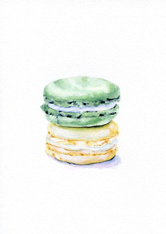 Laduree Macarons Cream and Mint ORIGINAL por ForestSpiritArt