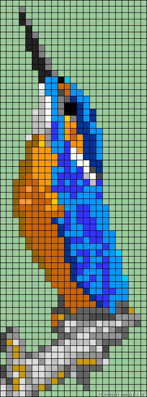 Kingfisher bird perler bead pattern