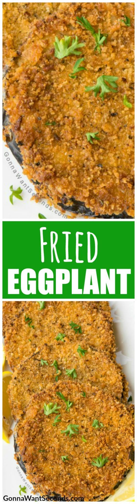 Our Fried Eggplant recipe, creates an easy crispy dish that's all about texture.This Italian delight only needs a couple of unique ingredients, like panko, to make it foolproof. Our technique shows you how to getting everything just right. Makes a great appetizer, side dish or light meal. #Easy #Recipes #Parmesan #WithFlour #Vegan #Deep