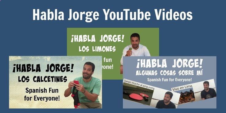 Kids learn Spanish with a fun set of YouTuber-style videos. Habla Jorge teaches vocabulary, verbs and more. Free transcripts, picture cards and activities.