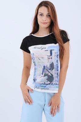 Detayları Göster Üst Siyah Baskılı Krem T-Shirt