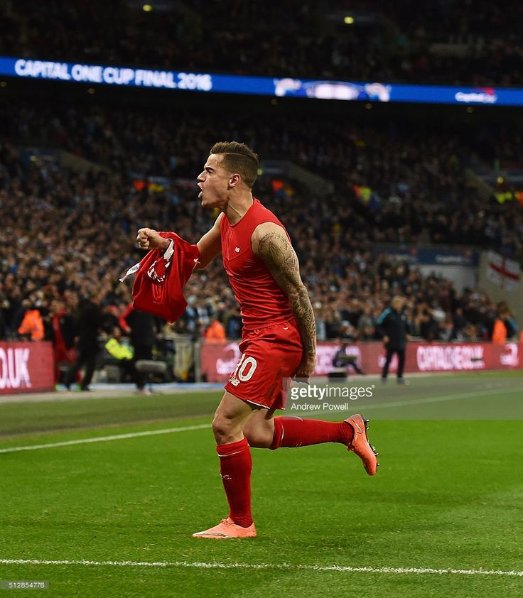 Philippe Coutinho of Liverpool celebrates his goal during the Capital One Cup Final match between Liverpool and Manchester City at Wembley Stadium on February 28, 2016 in London, England.