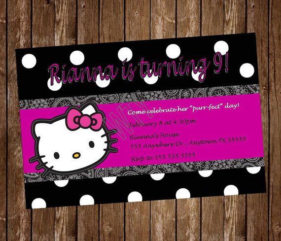HELLO KITTY Invitation Card Free By WillowTreeYarnery On Etsy, $7.99
