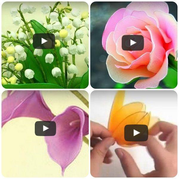 Come fare fiori con collant - calze in nylon (rose, tulipani, calle, mughetto) #tutorial #diy