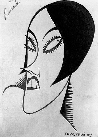 Gloria Swanson 1925 caricature by Miguel Covarrubias