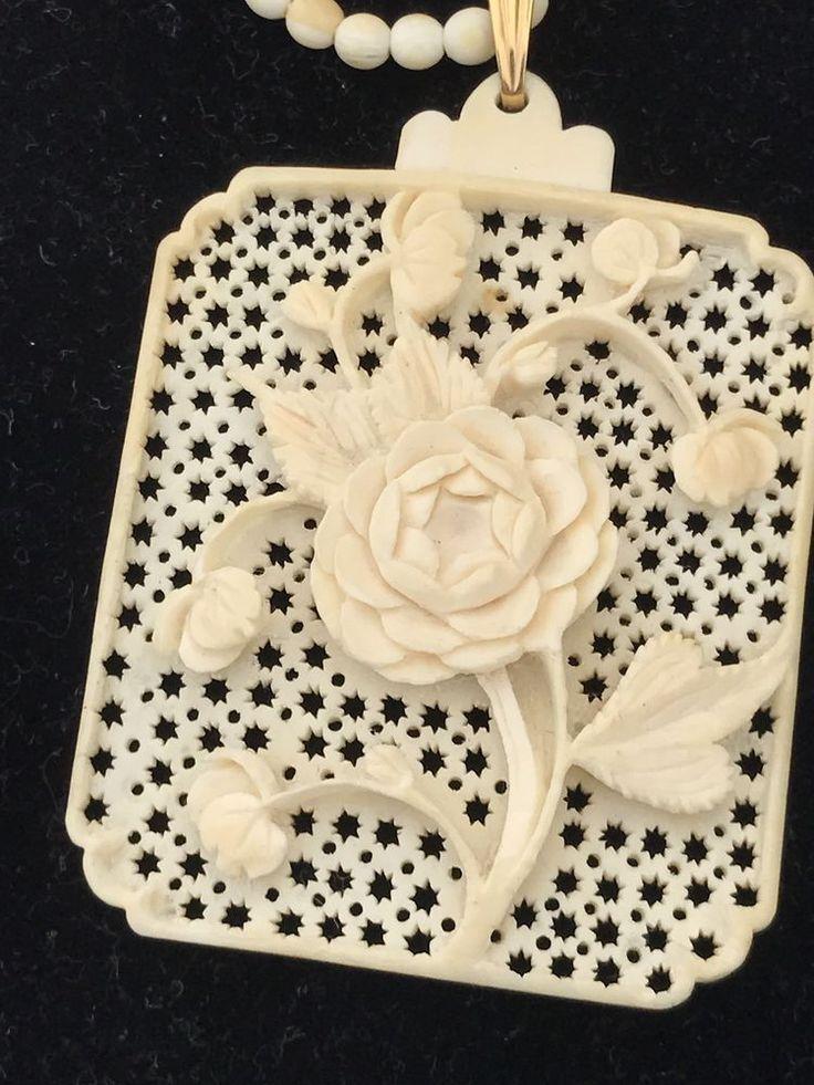 Vtg Carved Celluloid Rose Pendant & 1 Strand Bead Necklace, + Extender #Pendant