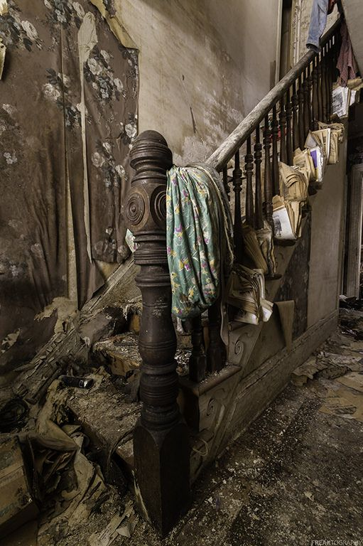 A staircase in an old home in Ontario that has sat abandoned for many, many…