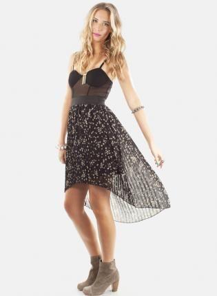Black Hi Low Pleat Dress with Star Print and Mesh Top,  Dress, hi low dress  pleated  star print, Chic