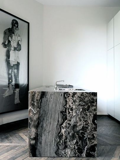 Robert van Oosterom. Marble. Glam. Chic. Photo Wall. Kitchen. Black. Grey. White. Modern. Design. Decor. Counters.