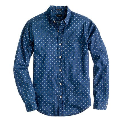 Men's Indigo Block Print Button Up Shirt MADE TO ORDER 7IPEuO5Xx7