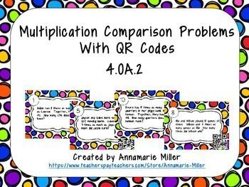Included are 24 self-checking QR code cards involving multiplication comparison problems.  This activity correlates with Lesson 2.2 in 4th grade Go Math. Use as a small group activity, for early finishers, or as review!  Please check out the other task cards available in my store!PLACE VALUEBase 10 Place ValueRounding Whole Numbers and DecimalsDecimal Word Form to Standard FormPlace ValueDIVISIONDivision Bar ModelsDividing 1-Digit Quotients with RemaindersEstimating Quotients with 1-Digit…