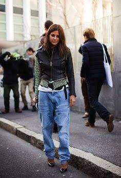 Baggy jeans and leather
