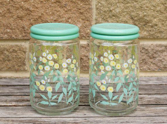1970's Glass Kitchen Storage Jars in Aqua, White and Yellow.