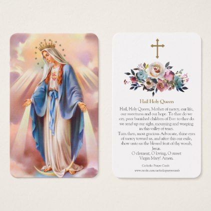 Virgin Mary Prayer Cards | Hail Holy Queen - baby gifts child new born gift idea diy cyo special unique design