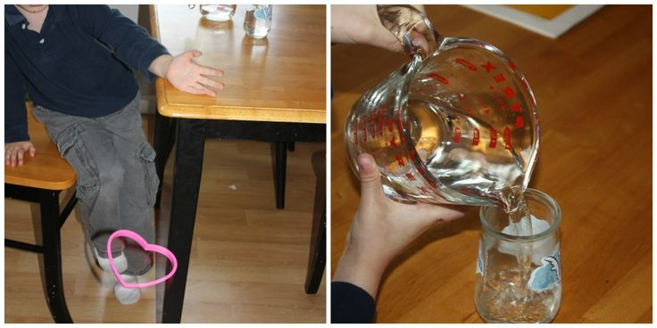 gravity science experimen- knock an object off the table. Pour water.