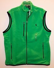 Polo Ralph Lauren Ανδρικά Πράσινο απόδοσης Fleece Full-Zip Vest Jacket NWT $ 98 L