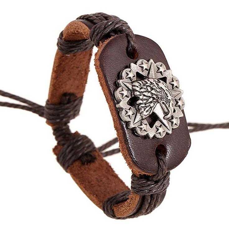High Quality Genuine Leather Bracelets Mens Adjustable Hemp Rope Wrap Vintage Male Bracelet Charm Eagle Head Bangle Punk Jewelry #Affiliate